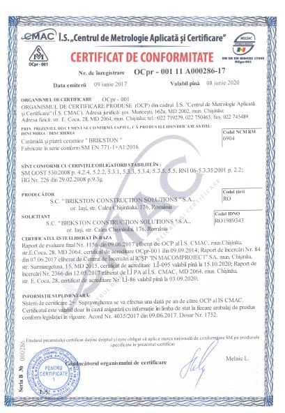 Certificat de conformitate valabil 9 iunie 2017 - 8 iunie 2020